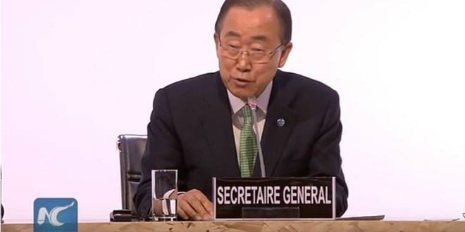 UN Secretary General Ban Ki-moon at Paris climate conference. (Photo: YouTube screenshot / https://www.youtube.com/watch?v=z8Quh64ssnc)