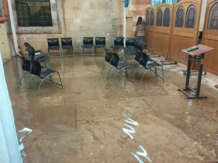 Flooded Cave of the Patriarchs courtyard. (Photo: Hebron Spokesperson's Office)