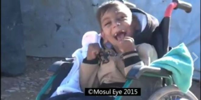 A disabled child in ISIS territory. (Photo: Screenshot/Mosul Eye)