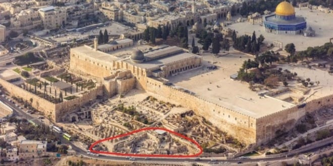 The Ophel excavations at the foot of the southern wall of the Temple Mount in Jerusalem. (Photo: Courtesy Andrew Shiva)