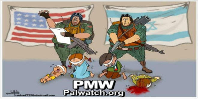 """The Fatah cartoon portraying U.S. support for Israeli """"executions"""" of Palestinian children. (Photo: Palestinian Media Watch)"""