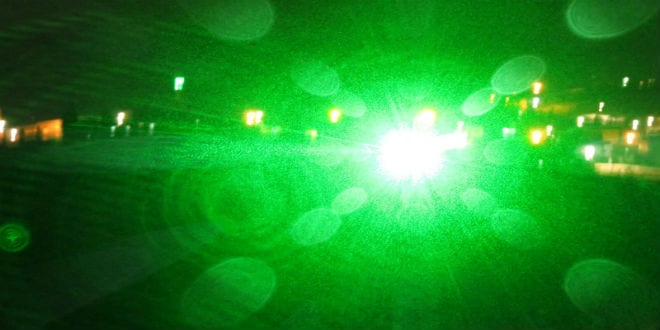 Bright green lasers cause severe risk to drivers on Route 443. (Photo: Nadav Goldstein/TPS)