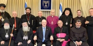 President Rivlin and Israeli Christian community leaders at their gathering on Monday, December 28, 2015. (Photo: GPO/Mark Neiman)