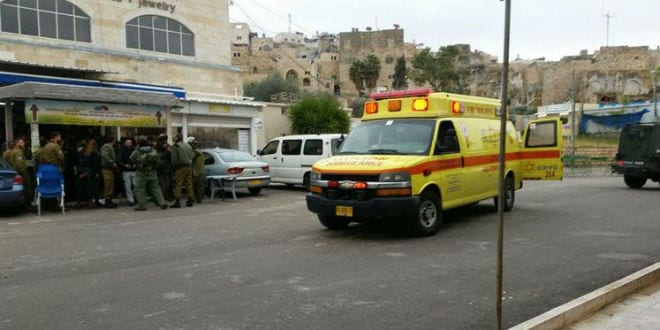 An ambulance at the scene of the sniper attack in Hebron. (Photo: @IsraelHatzolah/Twitter)
