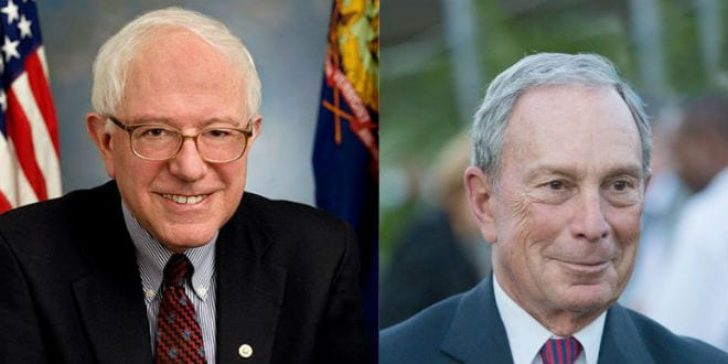 Will Jews Bernie Sanders (L) and Michael Bloomberg (R) face off in a race to the White House?