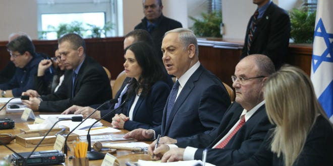 Prime Minister Benjamin Netanyahu leads the weekly government conference at PM Netanyahu's office in Jerusalem on January 3, 2016. (Photo: Alex Kolomoisky/POOL)