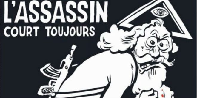 The cover of Charlie Hebdo's special edition marking one year since the terror attack on its office names God as the assassin. (Photo: Charlie Hebdo)