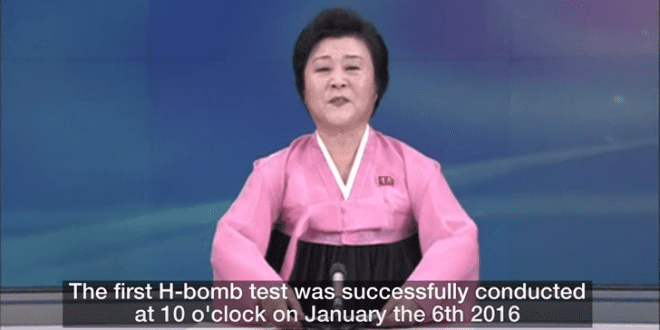 North Korea announces that it has successfully detonated a hydrogen nuclear bomb on January 6, 2016. (Photo: YouTube Screenshot)