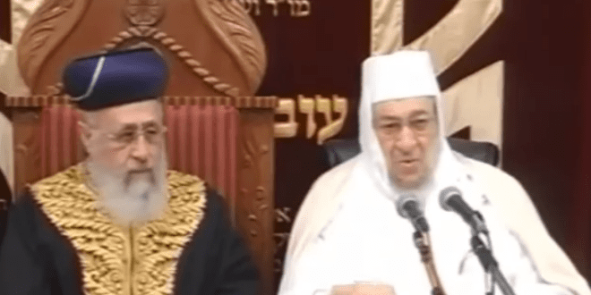 Rabbi Baruch Abuhatzeira (The Baba Baruch) sitting with Rabbi Yitzchak Yosef Amar. (Photo: YouTube screenshot)