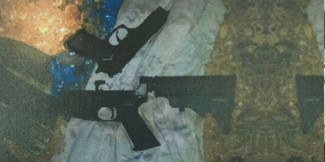 Part of the weapons cache which the Hamas terrorists planned to use in a shooting attack. (Photo: Shin Bet)