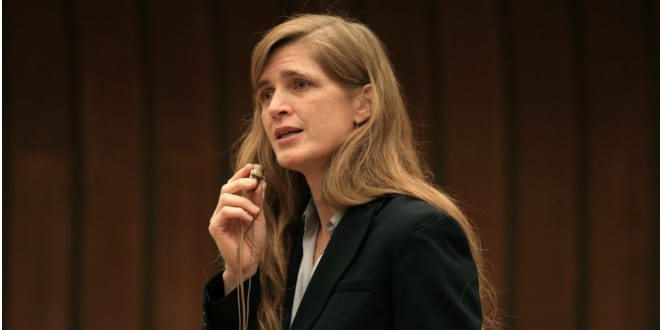 Samantha Power speaking in Geneva Photo by United States Mission Geneva Photo: Eric Bridiers via Wikimedia Commons)