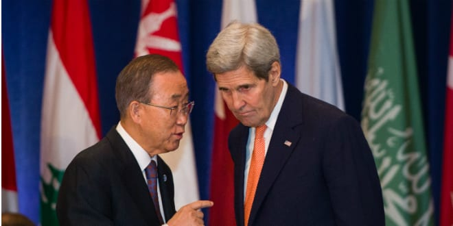 Secretary Kerry Chats With UN Secretary-General Ban Before Hosting the International Syria Support Group Meeting in New York City (Photo by By U.S. Department of State from United States [Public domain], via Wikimedia Commons)
