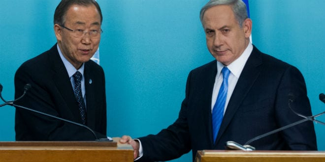 United Nations Secretary-General Ban Ki-moon and Israeli Prime Minister Benjamin Netanyahu hold a joint press confererence at the Prime Minister's Office in Jerusalem on October 20, 2015. (Photo: Miriam Alster/Flash90)