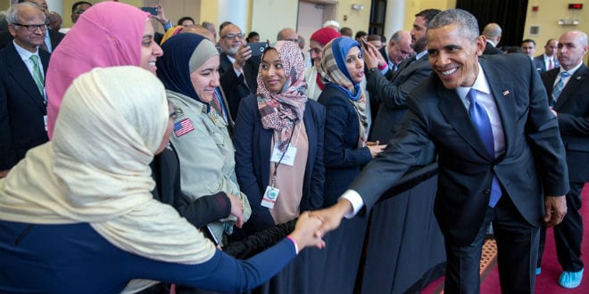 President Barack Obama greets members of the audience after he delivers remarks at the Islamic Society of Baltimore mosque and Al-Rahmah School in Baltimore, Maryland, Feb. 3, 2016. (Official White House Photo by Pete Souza)