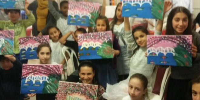 American bat mitzvah girl shares her celebration with 13 for Paint night home parties