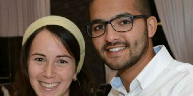 Tuvia Yanai Weissman, 21, with his wife. He was stabbed to death by two 14-year-old terrorists on February 18, 2016. (Photo: Israeli media)