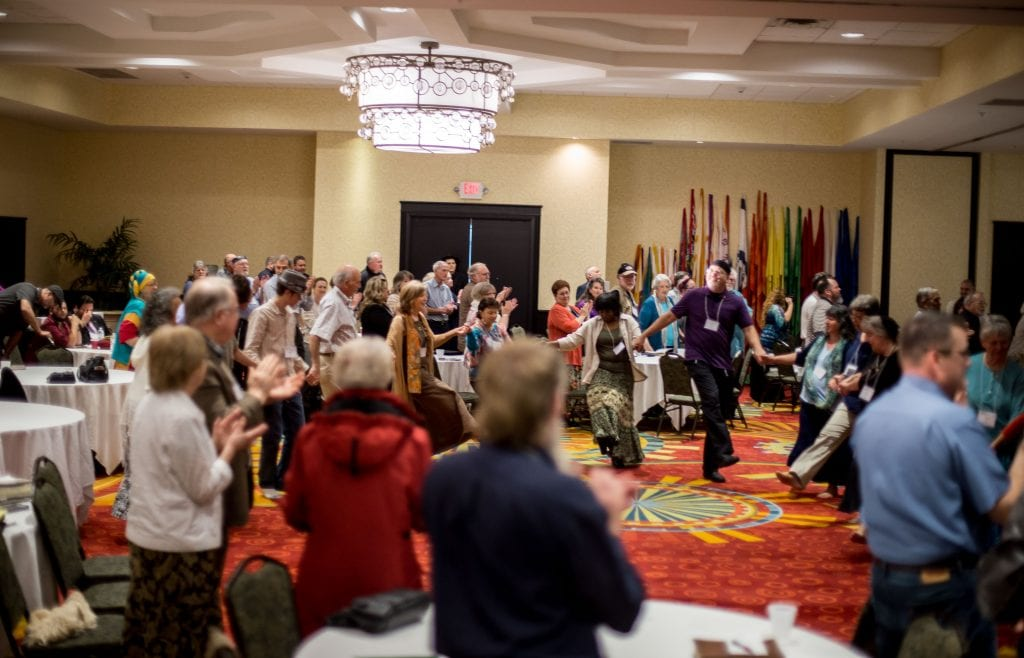 Participants in the B'ney Yosef Summit dance in celebration together (Photo: Swen Halverson, B'ney Yosef North America)