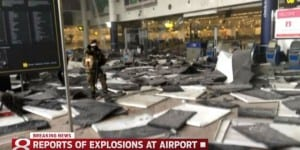 The aftermath of the airport bombings in Brussels (Photo: Youtube screenshot/Wish TV)