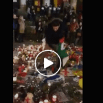 Palestinian Supporters Remove Israeli Flag from Brussels Terror Memorial