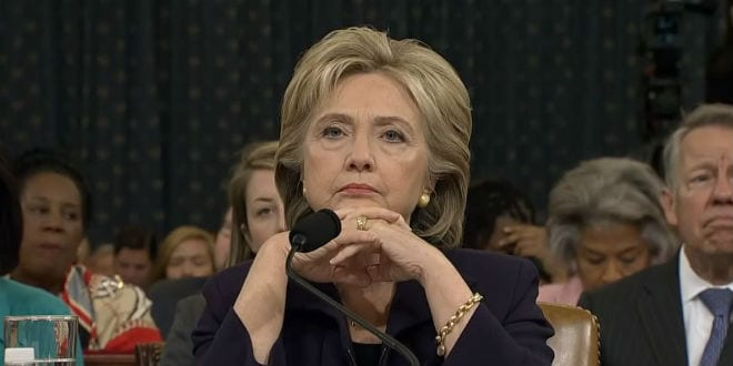 Hillary Clinton testifying about improper use of emails. (YouTube Screenshot)