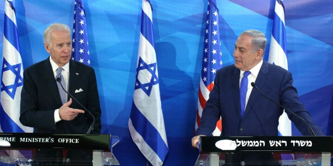 Israeli Prime Minister Benjamin Netanyahu holds a joint press conference with United States Vice President Joe Biden at the Prime Minister's Office in Jerusalem, on March 9, 2016, during Biden's official visit to Israel and the Palestinian Authority. (Photo: Amit Shabi/POOL)