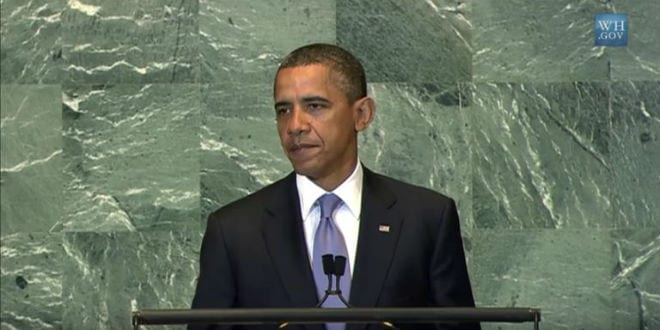 Obama addresses the UN General Assembly. (Video screenshot)