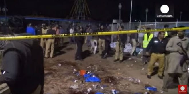 The scene of the Easter Sunday terror attack which killed 70 Pakistani Christians. (Photo: Screenshot)