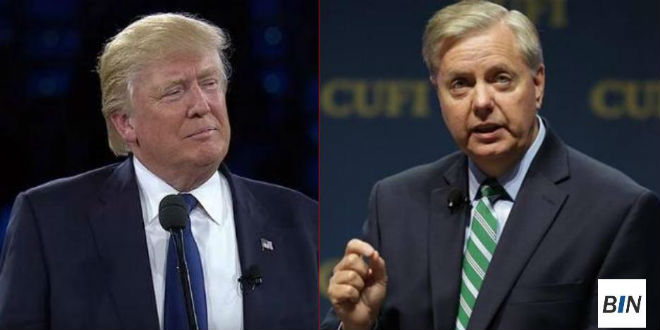 Donald Trump (l) and Senator Lindsey Graham. (Breaking Israel News)