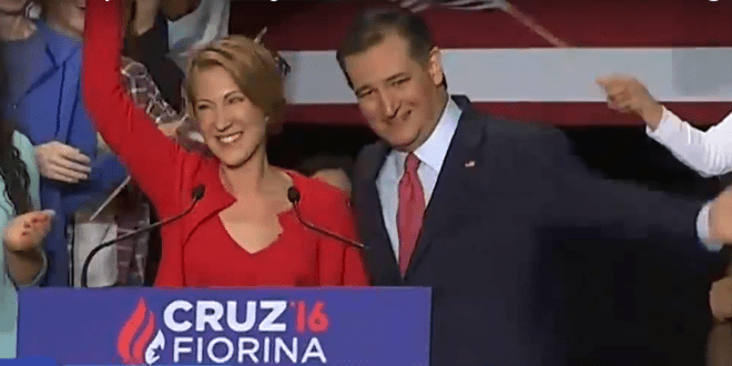 Presidential hopeful Ted Cruz announced his pick for Vice President, Carly Fiorina on April 27, 2016. (Photo: Fox 10 Phoenix/ YouTube Screenshot)