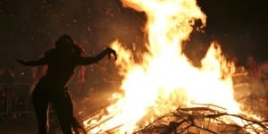 From the 2012 Beltane Fire Festival bonfire on Calton Hill, Edinburgh, Scotland (Photo: Stefan Schäfer, Lich / Wikimedia Commons)