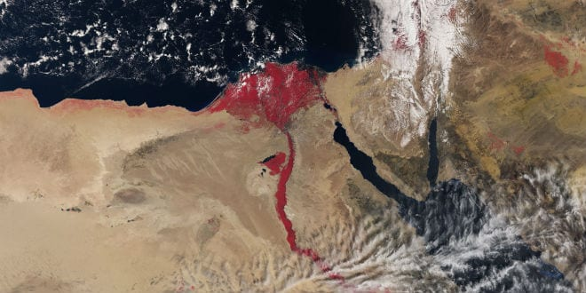 A satellite photo taken of the Nile River, released on April 1, 2016. (European Space Agency)