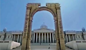 A model of the Triumphal Arch to be built in London. (Photo: Courtesy)