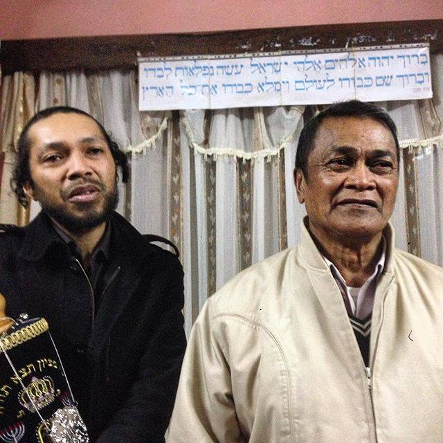 Two members of a Malagasy Jewish community in their synagogue. (Photo: Josh Kristal/Kulanu Facebook)