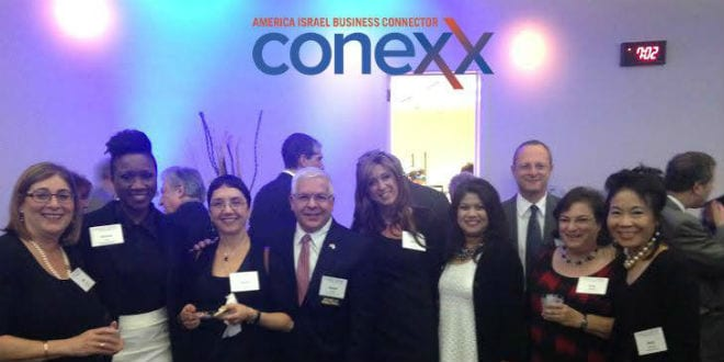 Sabra Joines joins the a conference for Conexx, a company connecting Israeli and American businesses. (Photo: Sabra Joines)