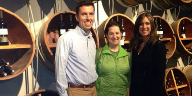 Sabra Joines joins friends at the winery in Gush Etzion. (Photo: Sabra Joines)