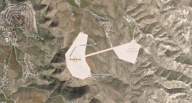 Arial view of Nokdim, a community located south of Bethlehem in the northern Judean hills. (Photo: JNi Media/Google Maps)