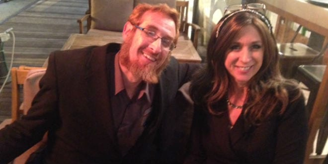 Sabra Joines (R), founder of Sabra Style, sits with Rabbi Yehuda Glick (L). (Photo: Sabra Joines)