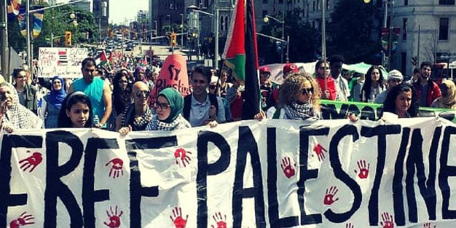 University students rally against Israel during Israeli Apartheid Week (Photo: Israeli Apartheid Week Facebook)