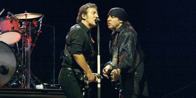 Singer Bruce Springsteen (L) and Steve Van Zandt, of the E Street Band, perform for their 2002-03 World Tour at Shea Stadium October 4, 2003 in Flushing, New York. (Photo: Anthony Correia / Shutterstock.com)
