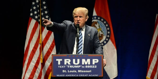 Donald Trump talks to supporters at the Peabody Opera House in Downtown Saint Louis on March 11, 2016. (Photo: Gino Santa Maria / Shutterstock.com)