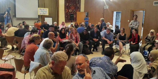 A multi-faith prayer on May 9 in Jerusalem welcomed Jews, Christians and Muslims. The event was organized by the Elijah Interfaith Institute, Abrahamic Reunion, and the the Tantur Institute for Ecumenical Studies. (Courtesy Abrahamic Reunion)