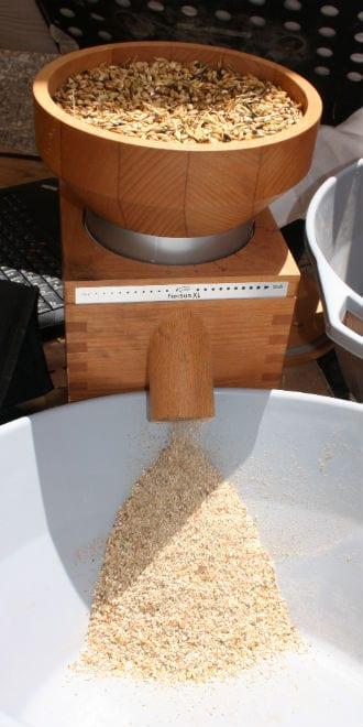 The Omer (barley) seeds are finely ground. (Photo: Adam Propp)