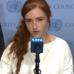 Ranana Meir, daughter of Natan and Dafna Meir, speaks at the United Nations in April. (Photo: Video Screenshot/Arutz7)