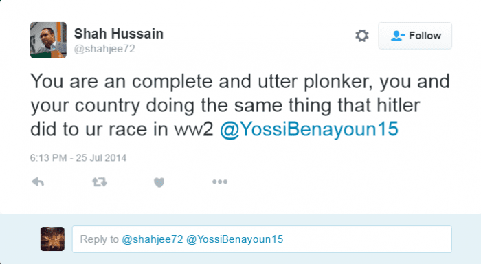 A tweet from the account said to belong to Labour counselor Shah Hussain from July 25, 2014. (Photo: i24 News/Twitter)