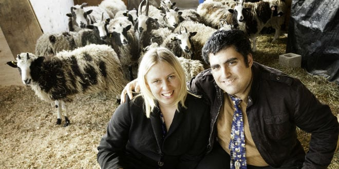 Gil and Jenna Lewinsky sit among a flock of Jacob's sheep. (Photo: Courtesy of Gil and Jenna Lewinsky)