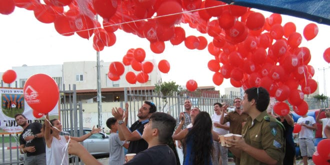 Red balloons with the Meir Panim logo are released to celebrate the dedication of the new Sderot youth center sponsored by Meir Panim and TikvaHope. (Photo: Tsivya Fox/Israel Media Network)