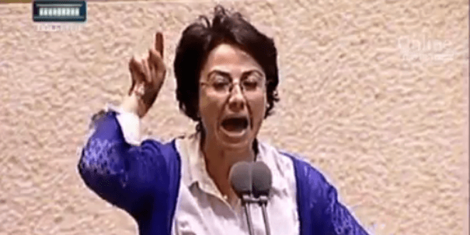 "Hanin Zoabi called IDF soldiers ""murderers"" in the Knesset on Wednesday. (Photo: Channel 2 News video screenshot)"