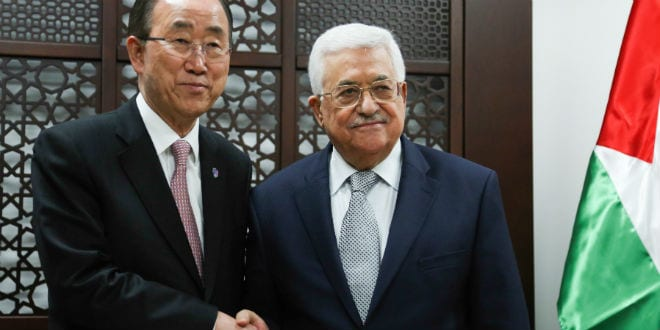 United Nations Secretary General Ban Ki-moon (L) meets with Palestinian president Mahmud Abbas in the West Bank city of Ramallah, on June 28, 2016. (Photo: FLASH90)