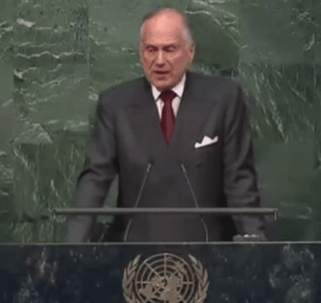 "Ron Lauder, President of the World Jewish Congress (WJC) speaks to the attendees of ""Building Bridges, Not Boycotts"" (Photo: Israel at the UN/YouTube screenshot)"