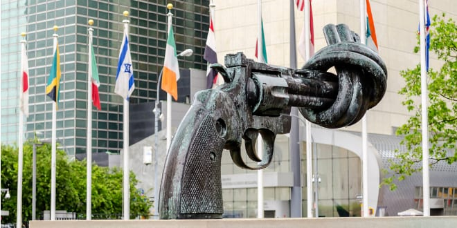 Non Violence Sculpture at the UN Headquarters (Photo by Marco Rubino via Shutterstock)